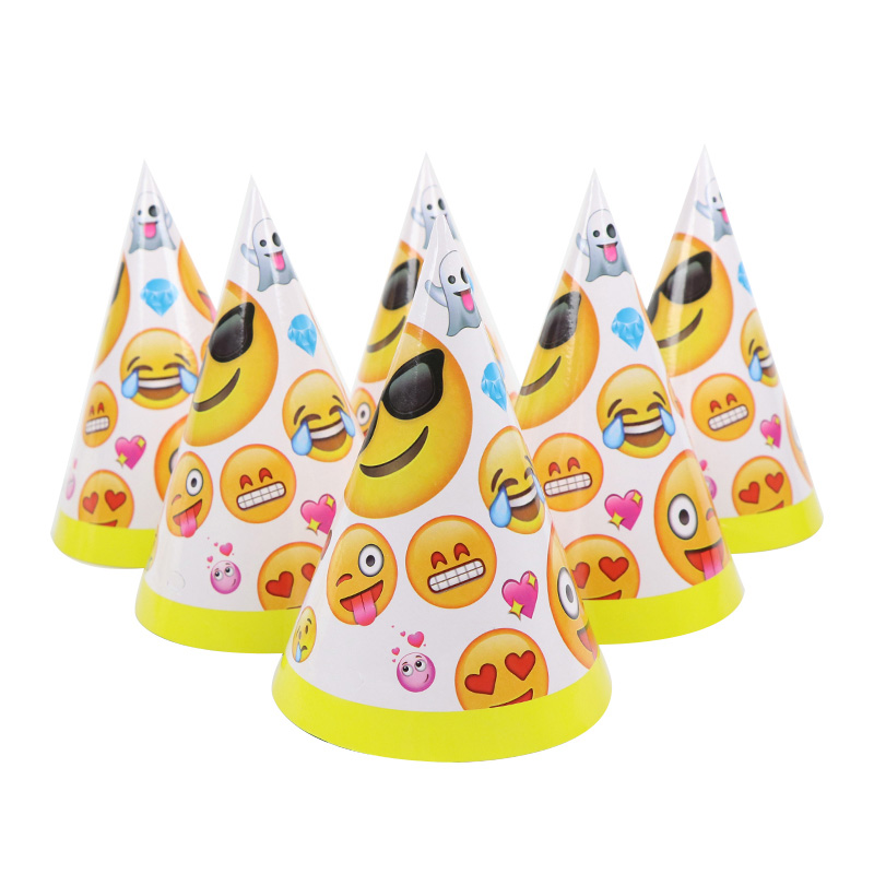 6pcsset Cartoon Emoji Paper Hats Kids Happy Birthday Party Hats Caps Decoration For Boys Girls Festival Favor Supplies
