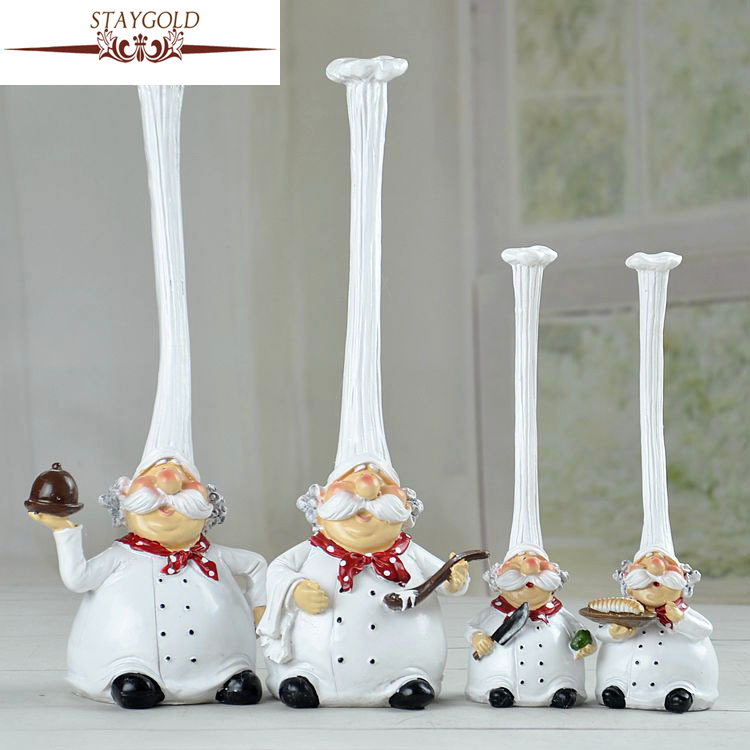 Kawaii Chef Home Decoration Accessories Kitchen Decoration Resin Crafts Cake Bakery Chef Articles Cute Christmas 2pcs/set