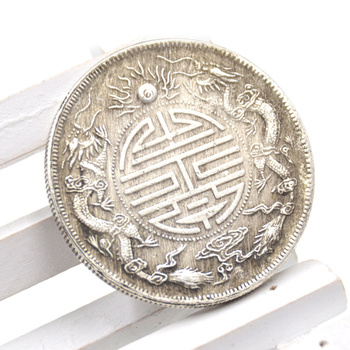 Ancient 39mm Feng Shui Chinese Double Dragons Bead Lucky Coins Auspicious Copper Coin クリア バック ショルダー 大人