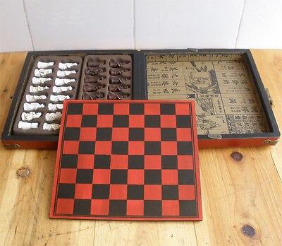 Tsing dynastie 3D Chessman Grace Vingtage échecs avec belle boîte en bois motif Dragon - 3