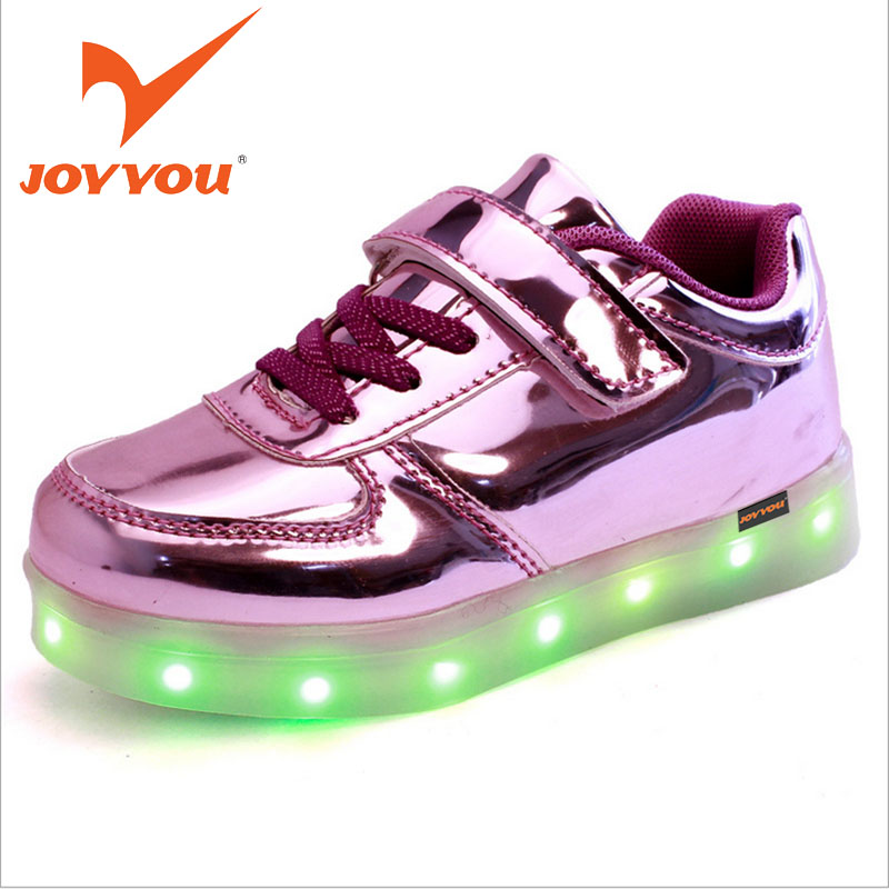 JOYYOU Brand USB Charging Teenage Led Kids Shoes Boys Girls Luminous Sneakers With Light Up Led Tenis Infantil School Footwear led glowing sneakers kids shoes flag night light boys girls shoes fashion light up sneakers with luminous sole usb rechargeable