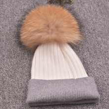 Winter hat for women knitted wool beanies cap natural raccoon fox fur pompom hat female casual skullies