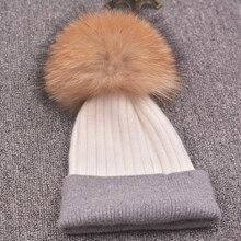 Зимняя шапка для женщин вязаный шерстяной шапочки кап природный енот мех лисы помпоном шапка женская повседневная skullies