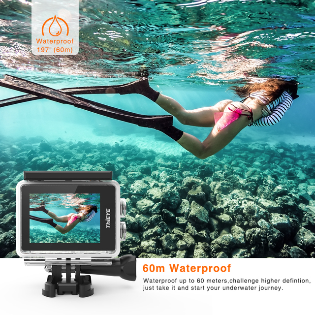 ThiEYE i60+ 4K 30fps Full HD WiFi Remote Control Action Camera 60M Waterproof Sports video Camera 170 Degree Wide-angle cam 3