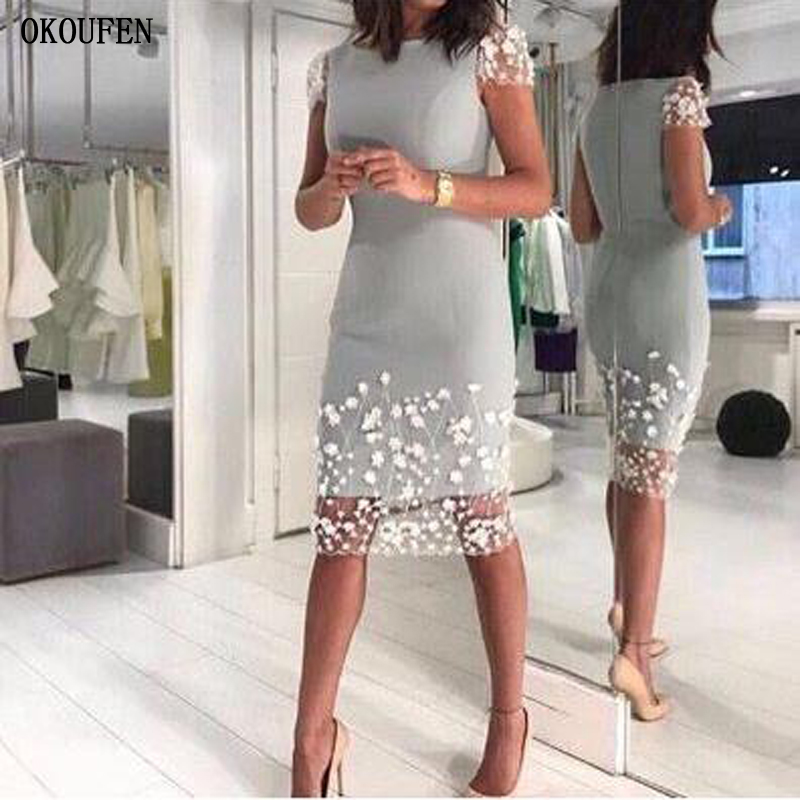 Mother Of The Bride Dresses 2019 Silver Gray Short Sleeves Sheath Knee Wedding Party Kurti Vestido De Madrinha Farsali