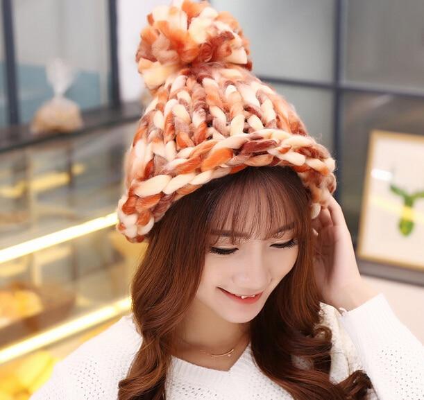 BomHCS Fancy Yarn CONTRAST COLOR Fashion Cute Autumn Winter Warm 100% Handmade Knitted Hat Women Beanie bomhcs comfort softness cute women autumn winter warm 100