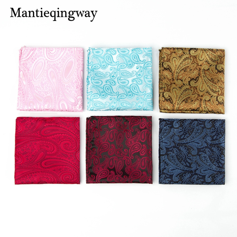 Mantieqingway Mens Paisley Polyester Handkerchief For Wedding Jacquard Pocket Square Business Chest Towel For Men Suit Hanky