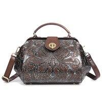 Baoersen Luxury Women Genuine Leather Handbags Ladies Retro Elegant Shoulder Messenger Bag Embossed Floral Bolsas Hot