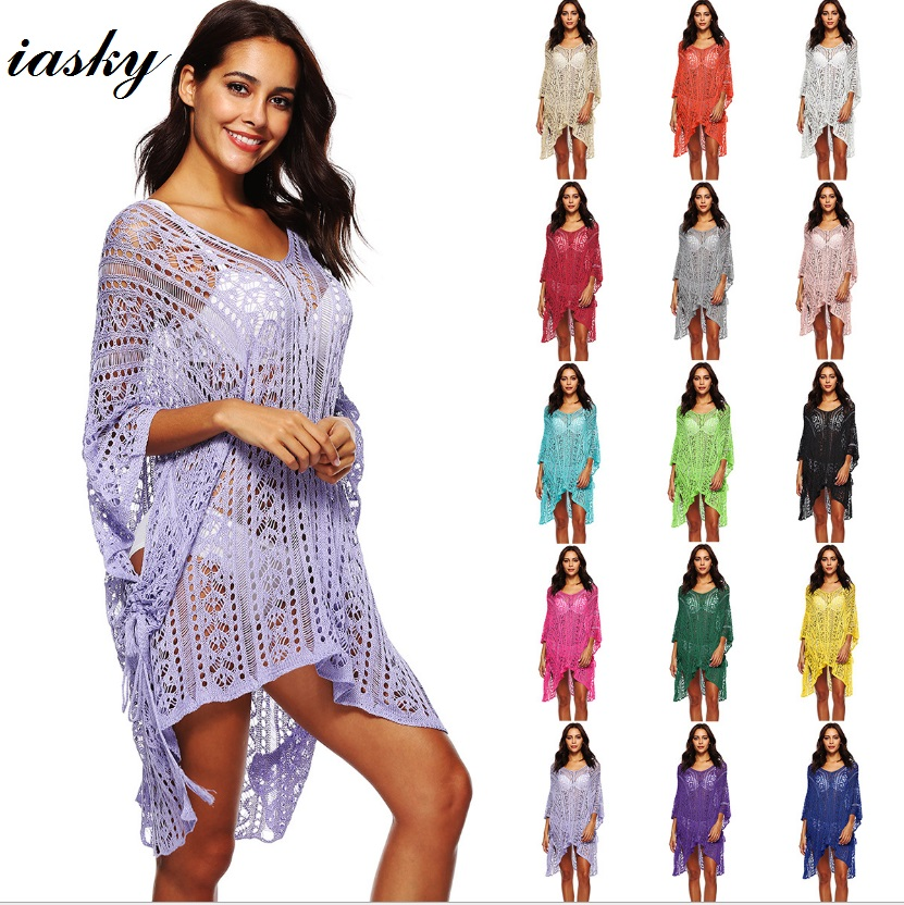 9852cbe92 IASKY 2018 New Knitted Women Bikini Cover Up sexy women loose Hollow out Swimsuit  Cover Ups Robe De Plage Beach Dress