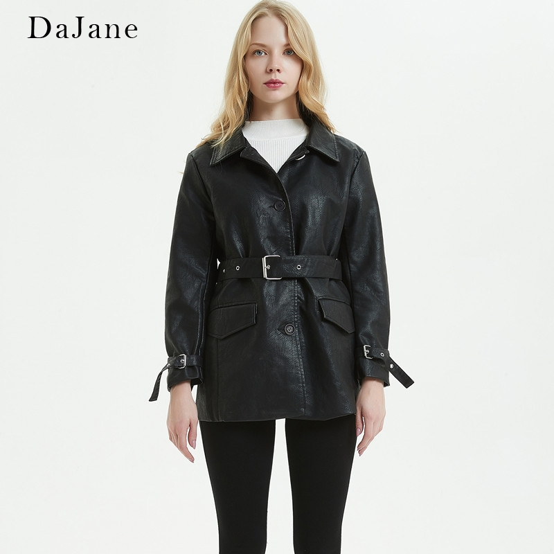 DaJane Spring New   Leather   women's Long Section single-breasted Loose Motorcycle Jacket Lapel Bf Jacket Belt