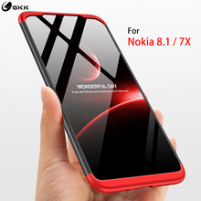 GKK Fitted Case for Nokia 8.1 case 360 full protection 3 in 1 Anti-knock&proof Hard PC Matte Back Cover 7X Funda