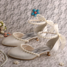 Wedopus Custom Handmade Woman Party Shoes Low Heel Sandals Wedding Satin Ivory