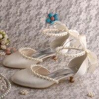 Wedopus Tuỳ Chỉnh Handmade Người Phụ Nữ Bên Giày Gót Thấp Dép Đám Cưới Satin Ngà