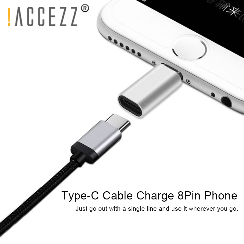 !ACCEZZ 8 Pin To Type C Female Cable Adapter For IPhone XR XS MAX 8 7 6 Lighting Type-c Charging Data Sync Charger OTG Connector