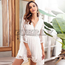 CUERLY Spring Sexy Hollow Out Dress For Women White V Neck 3/4 Sleeve High Waist Slim Women Dresses Fashion Clothes Vestidos L8 цена и фото