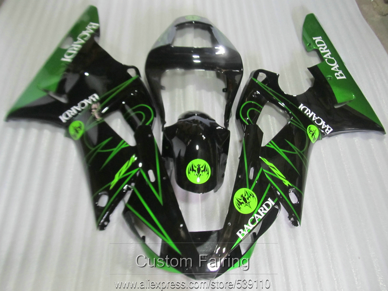 Free customize moded fairing kit for Yamaha R1 00 01 green black fairings set YZF R1
