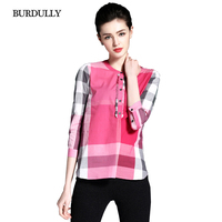 BURDULLY England Style Elegant Summer Women's Plaid Shirt Female Cotton Fashion Blouse Red And Black Patchwork Blouse Designs