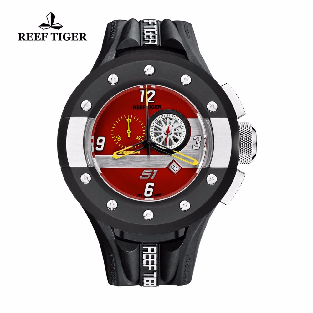 Reef Tiger/RT Mens Red Dashboard Dial Quartz Watch Chronograph and Sport Watches with Date Steel Rubber Stop Watch RGA3027 reef tiger rt chronograph sport watches for men dashboard dial watch with date quartz movement steel watches rga3027