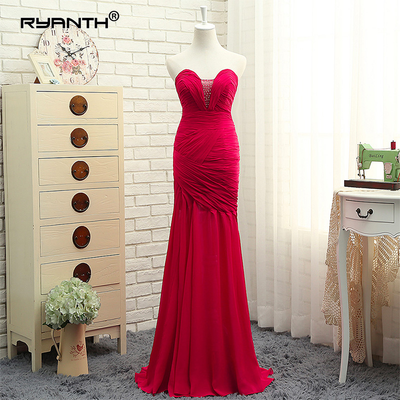Ryanth Real Photo Elegant Long Chiffon Mermaid Sweetheart Beaded Long Evening Dresses 2018 Robe De Soiree Formal Prom Party Gown
