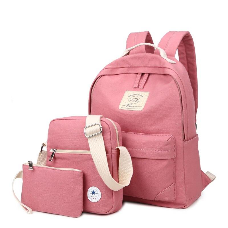 3pcs 새로운 브랜드 가방 팩 십 대 소녀 여자 대학 노트북 스쿨 백 모 일 배낭 배낭 Mochila 다시 팩 핑크