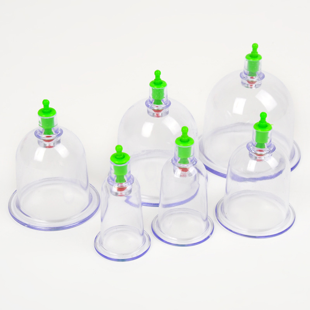 6pcs Anti Cellulite Medical Vacuum Device Cupping Cups With Suction Pump Body Relaxation Healthy Massage Helper Health Care C838