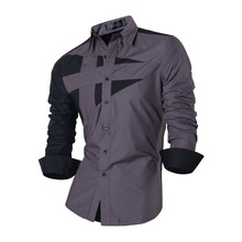 Jeansian Mens Dress Shirts Casual Stylish Long Sleeve Designer Button Down Slim Fit 8397 Gray2