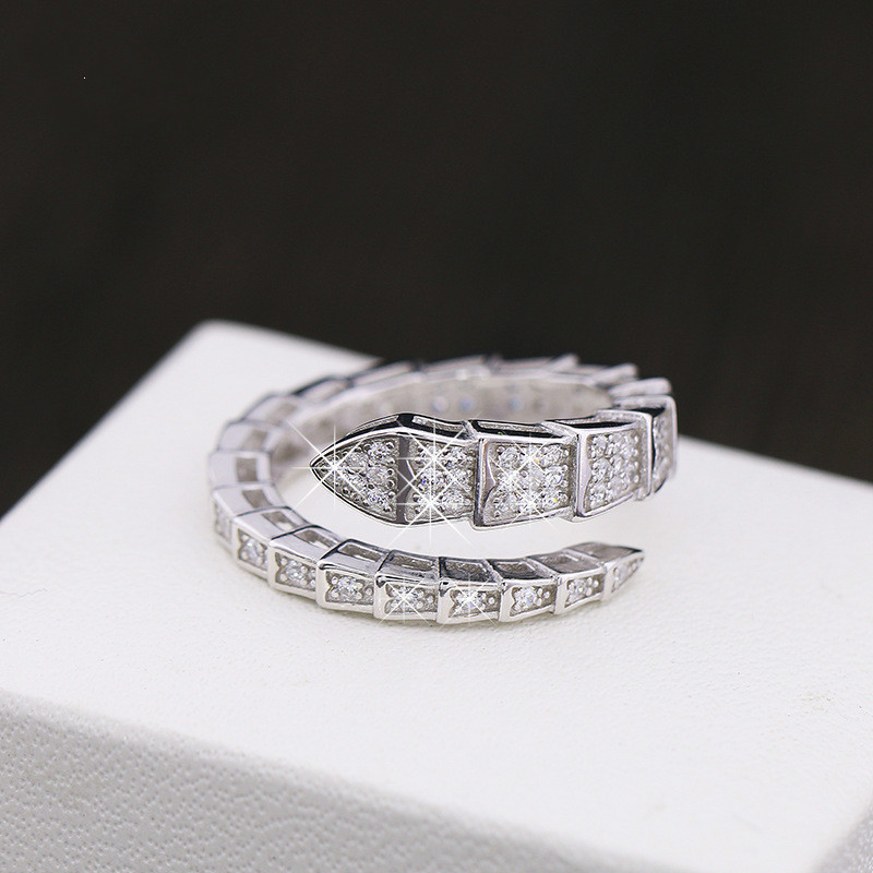 925 Sterling Jewelry Silver Plated Copper Snake Ring Circle Plating Silver Rhinestone Wedding Rings For Women Christmas Gift