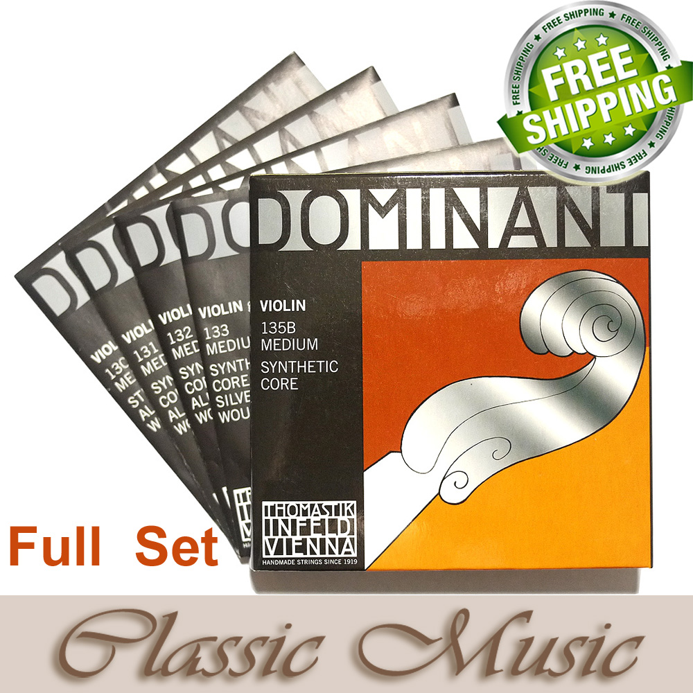 Thomastik Dominant 135B Violin Strings Full Set 4/4 Medium. Made in Austria. free shipping, free shipping evah pirazzi violin strings full set ball end made in germany for 4 4