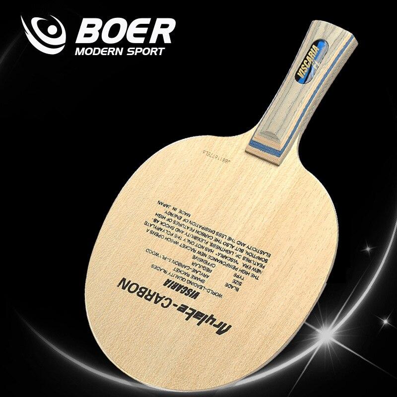 BOER VIS 5 couches bois et 2 couches en fiber de carbone tennis de table lame tennis de table raquette pour Tennis De Table Amateurs jouer