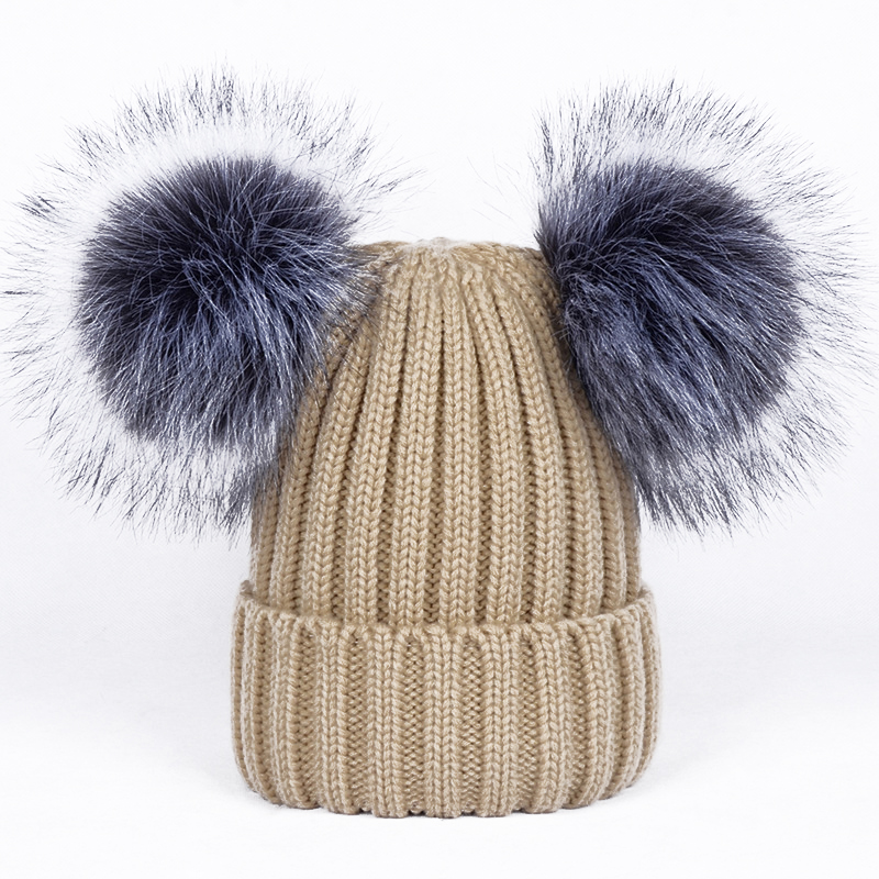 ff0dbfd10dbd5f 2018 New 2 Pom Poms Fur Ball Winter Cap Skullies Beanies Winter Hat For  Women Girl 'S Hat Knitted Cotton Thick Female Warm Hat