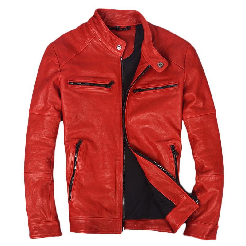 2018 Red Men Slim Fit Genuine Bikers Leather Jacket Plus Size 3XL Thick Sheepskin Short Riding Leather Coat FREE SHIPPING