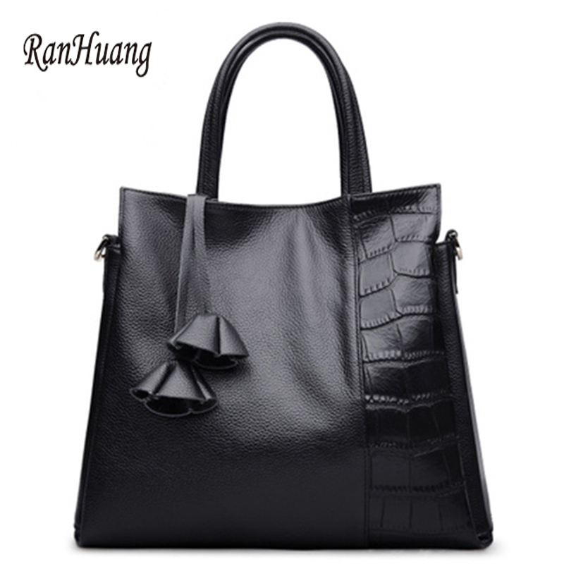 ФОТО RanHuang Women Split Leather Handbags European Style Fashion Alligator Handbags Ladies Black and Red Shoulder Bags bolsa feminin
