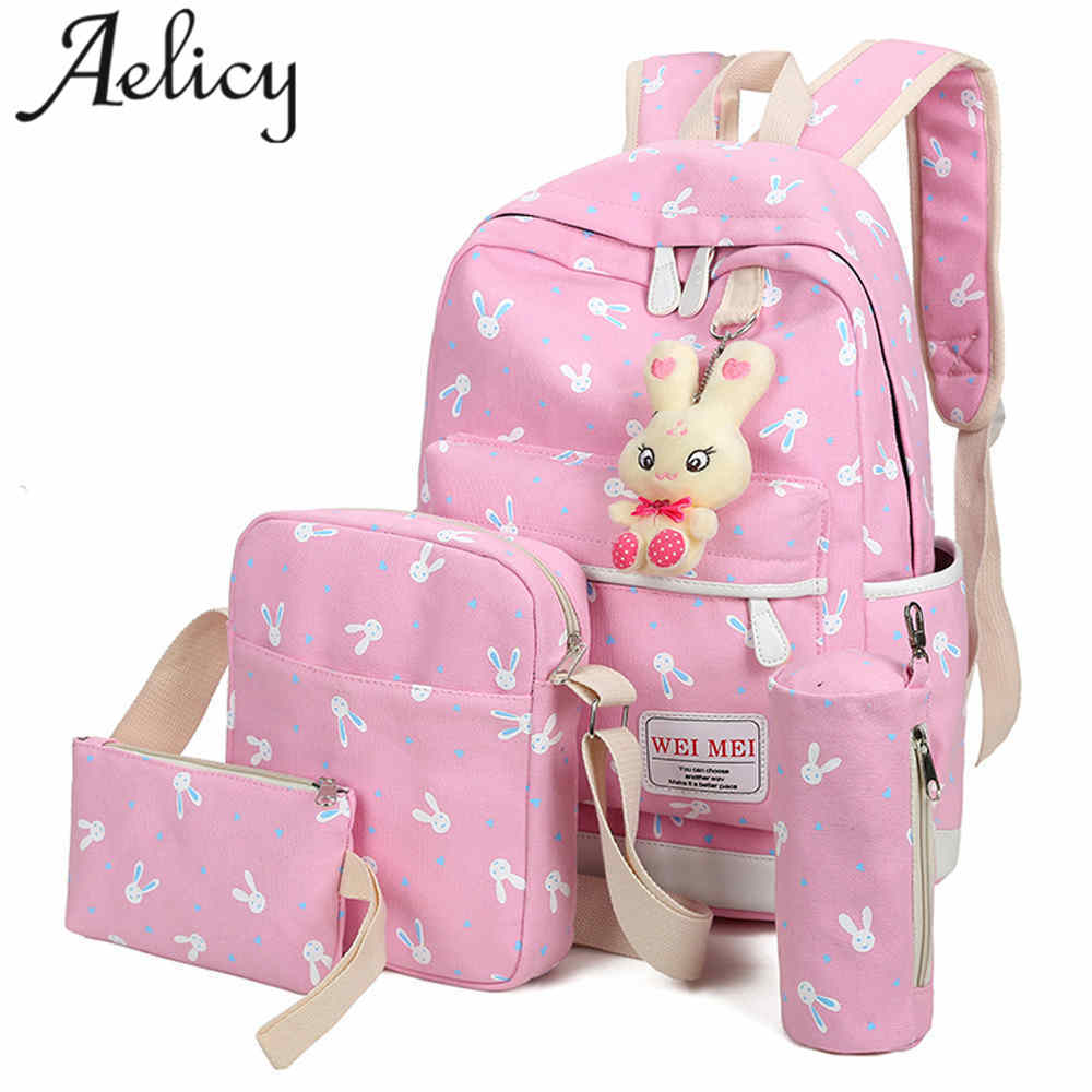 4 Sets Girl Rabbit Animals Travel Backpack For Teenage Girls Printing Canvas Backpacks Ladies Bags