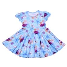Ropa para niños con estampado de personajes de dibujos animados, vestidos de manga corta para niñas, vestidos de niña con ondas, vestidos azules de fiesta para niños, vestido de algodón de seda
