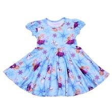 ตัวอักษรการ์ตูนพิมพ์เสื้อผ้าเด็กแขนสั้น Smock Frocks สาว Twirl ชุดเด็กสีฟ้า Party Twril ชุด Milksilk