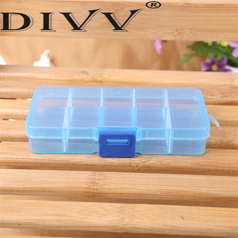 Fashion High Quality 10 Grids Adjustable Jewelry Beads Pills Nail Art Tips Storage Box Case drop shipping Aug18