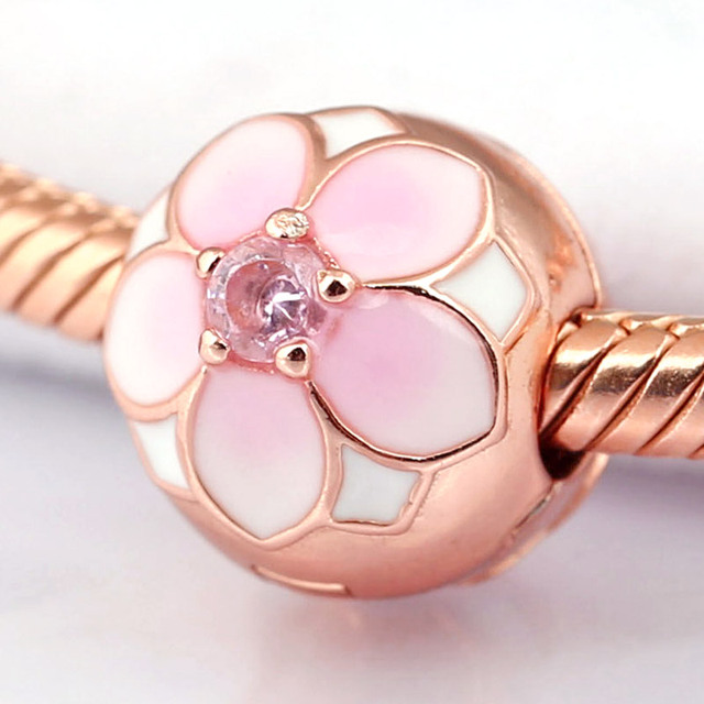 03e6eeef5 Pink & White Enamel Rose Magnolia Bloom Flower Clip Stopper Bead Fit Pandora  Bracelet Diy Jewelry 925 Sterling Silver Bead Charm