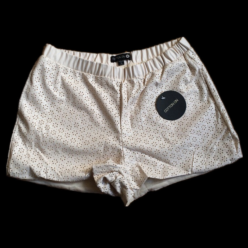 Summer Women's Sexy White PU Leather Shorts Women Hollow Flower Shorts High Quality Ladies Female High Waist Simple Nice Shorts