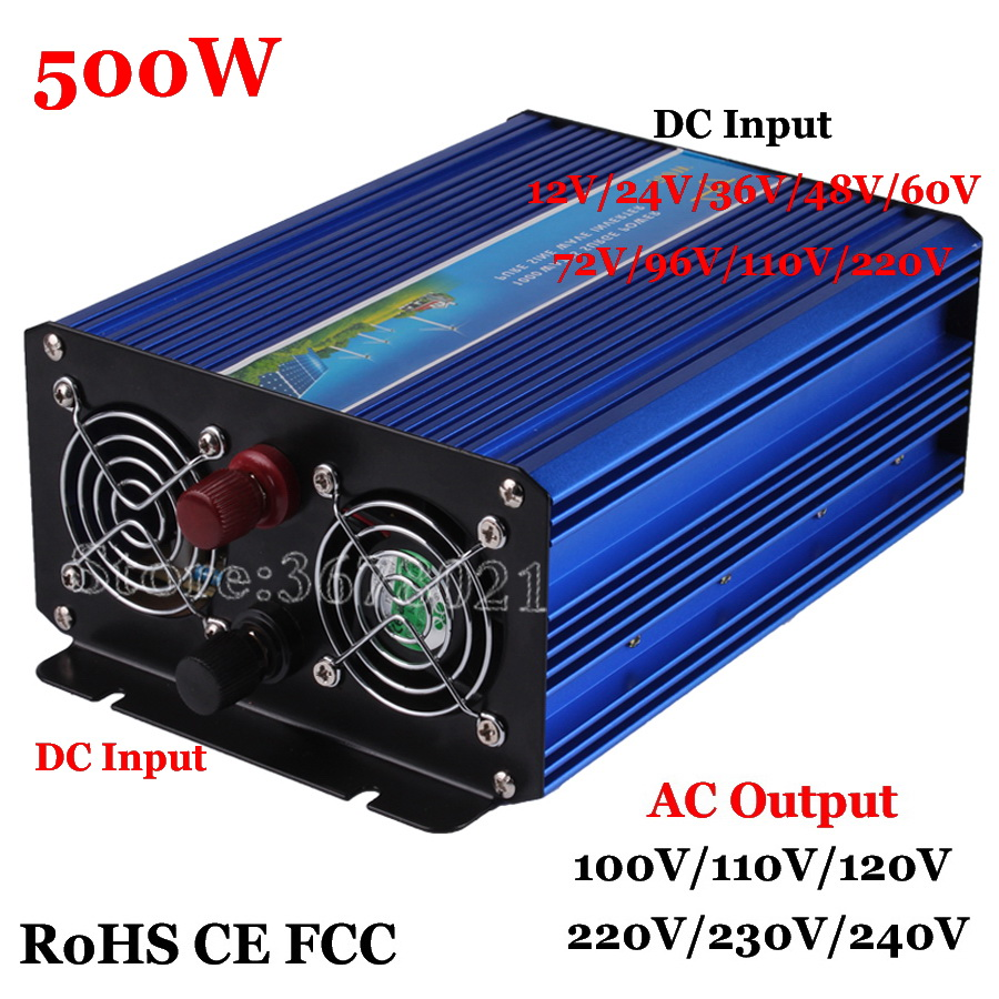 500 W hors réseau onduleur 60 V/72 V/96 V/110 V à AC 100/110/120/220/230/240 Vwith 1000 W surtension, onduleur à onde sinusoïdale Pure 500 W