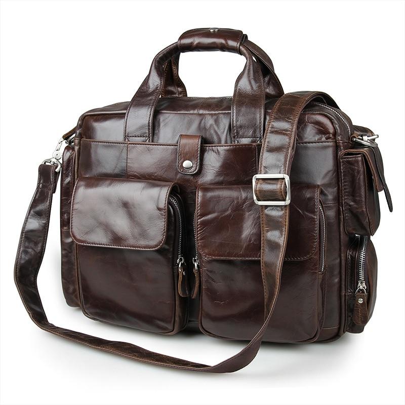 Vintage Coffee Color Genuine Leather Men Messenger Bags Cow Leather Briefcase Men s Bag 14 Laptop