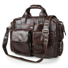 Vintage Coffee Color Genuine Leather Men Messenger Bags Cow Leather Briefcase Men's Bag 14″ Laptop Handbags Travel Bag VP-J7219