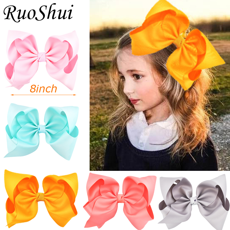 8'' Large Grosgrain Ribbon Hair Clips Hairpins Barrette Bowknot Headwear Solid Children Hair Bow For Girls