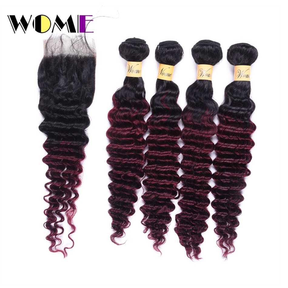 Женские T1B/99J бразильский глубокая волна Связки с закрытием красное вино Цвет человека вьющиеся волосы 4bundles с закрытием кружева свободная часть