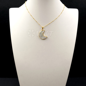Image 2 - WT N1024 WKT Wholesale Custom Natural Shell Crescent Moon White Pendant Necklace With Gold Stalite Beads 18 inch moon necklace