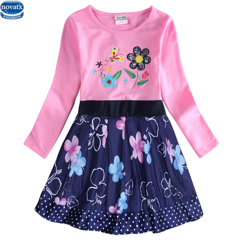novatx H7142 baby girls clothes kids children girls dresses flower dress for girl fashion carton design baby girls wears 2017