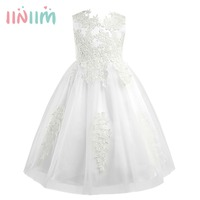 New Brand Girls Sleeveless Water Soluble Lace Flower Girl Dress Princess Pageant Wedding Bridesmaid Birthday Party