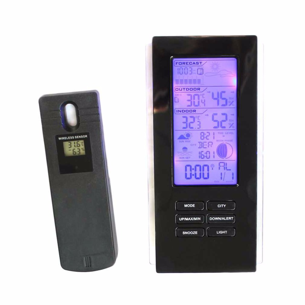online buy wholesale modern outdoor thermometer from china modern  - wireless touch lcd clock digital thermometer weather station indoor outdoortemperature humidity meter sensor hygrometer clock
