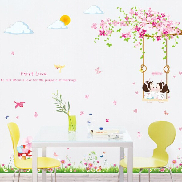 Free shipping first love romantic cartoon wall sticker boy and girl wall decor mural living room