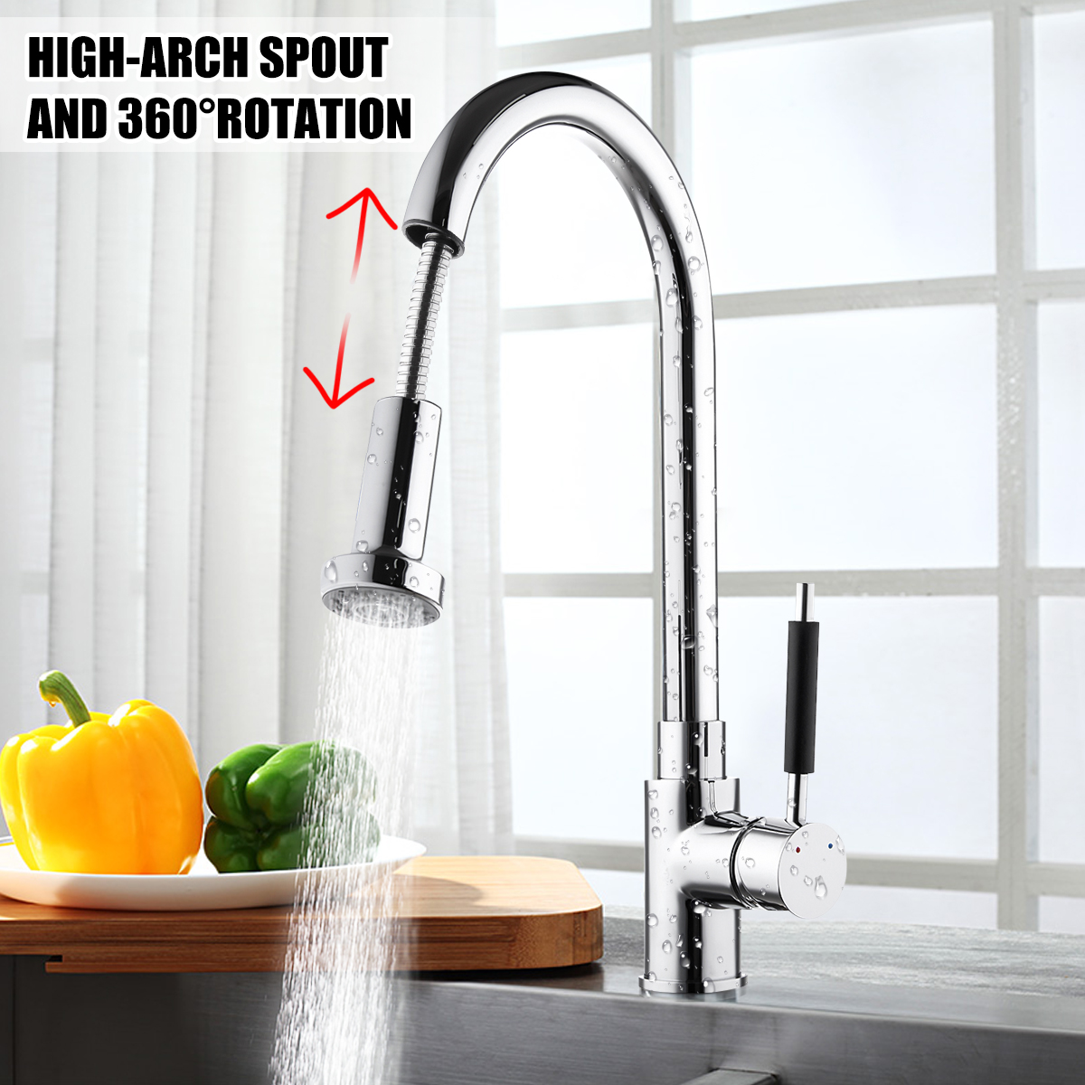 Single Handle Kitchen Faucet Brass Brushed 360 Degree Rotate Kitchen Sink Faucet Pull Out Water Spray Mixer Tap Torneira Cozinha цена и фото