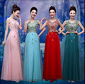Vestidos de madrinha new v neck lace embroidery peacock pattern turquoisedark green red Pink long bridesmaid dresses under 50